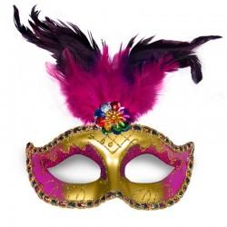 Guld - pink venetianske maske med fjer pynt