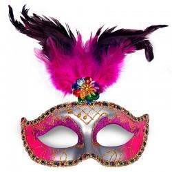 Sølv - pink venetianske maske med fjer pynt