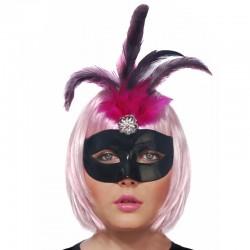 Sort Venetianske maske med fjer pynt til kostumefest