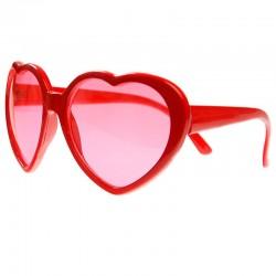 Røde hjerte briller set fra siden
