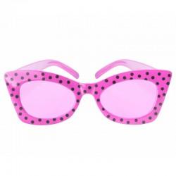 Pink 50'er cat eye briller med sorte prikker
