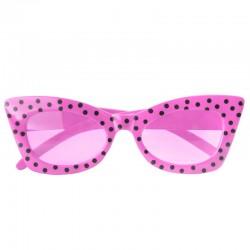 Pink 50'er cat eye briller med sorte prikker køb på dreamshop2u.dk