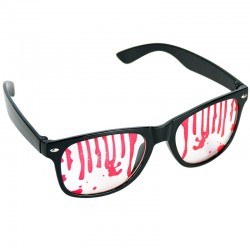 Sorte sjove briller med blodstænk