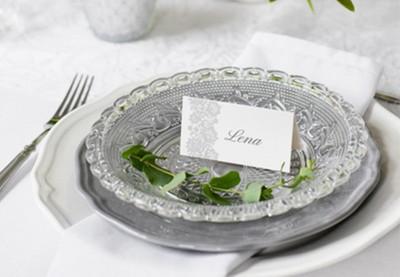 Fortrykte bordkort og glaskort bryllup
