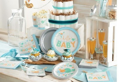 Lyseblå Hello Baby Boy. Baby Shower