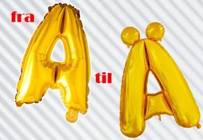 Folieballoner med bogstaver i guld | Køb flotte balloner her