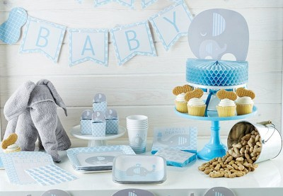Elefant baby shower lyseblå