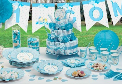 Bamse lyseblå baby shower